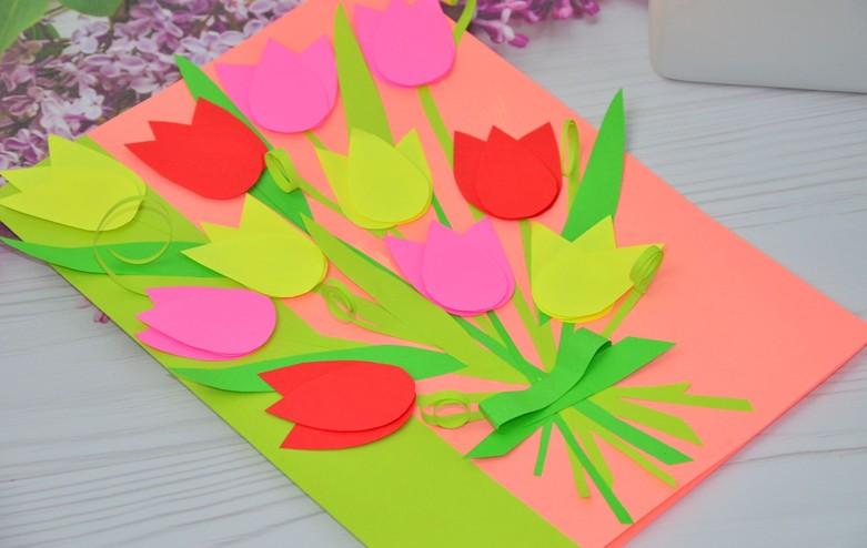 открытка с тюльпанами к 8 марта с детьми своими